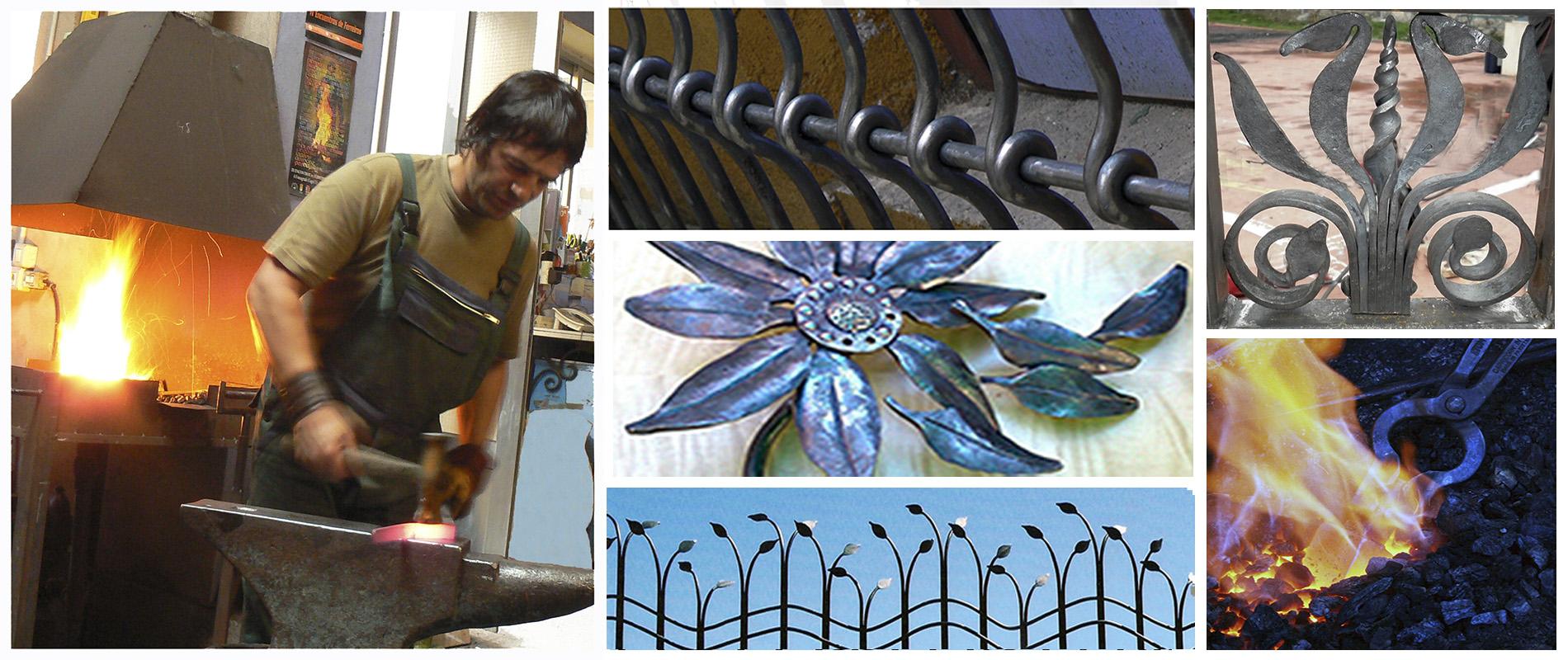 Collage, forja, herrero, fuego, metalmorfosis